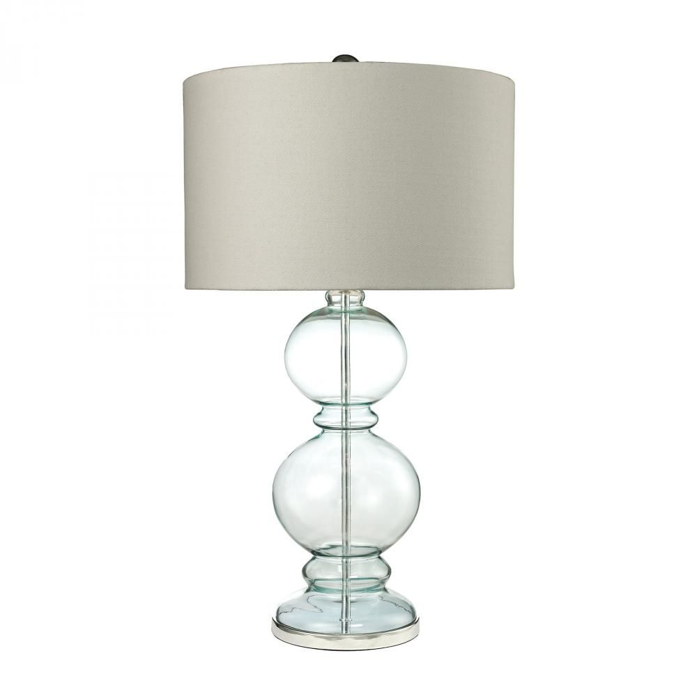 Blue glass table lamps  Curvy Glass Table Lamp in Light Blue With Textured Linen Shade