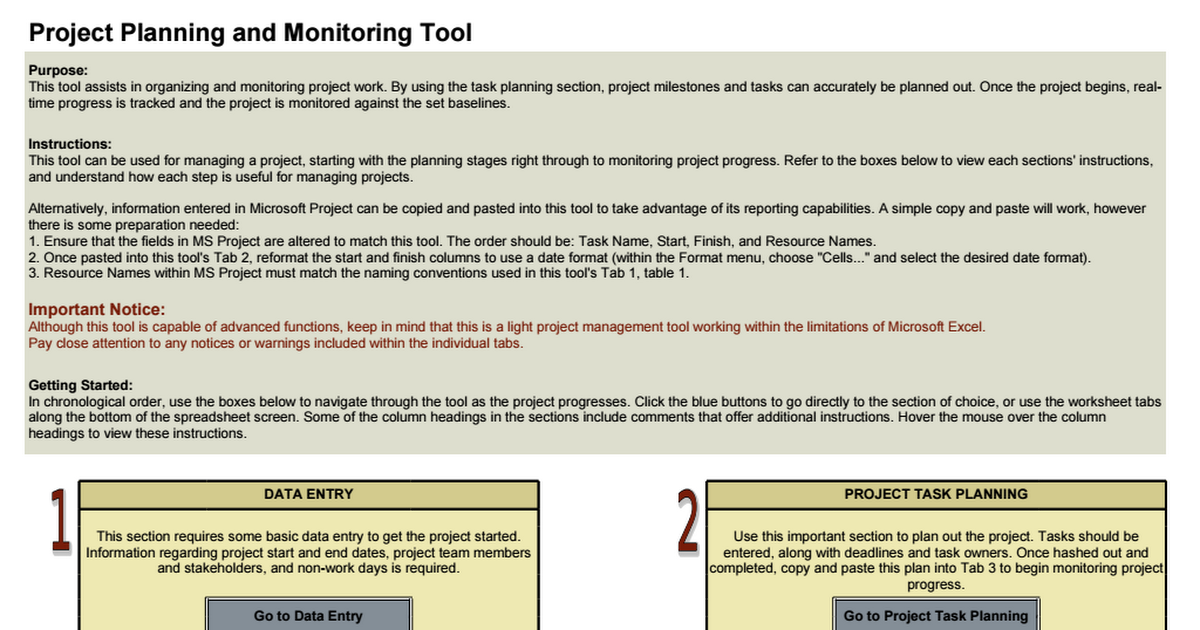 Project Planning And Monitoring Tool Xls Project Plans How To