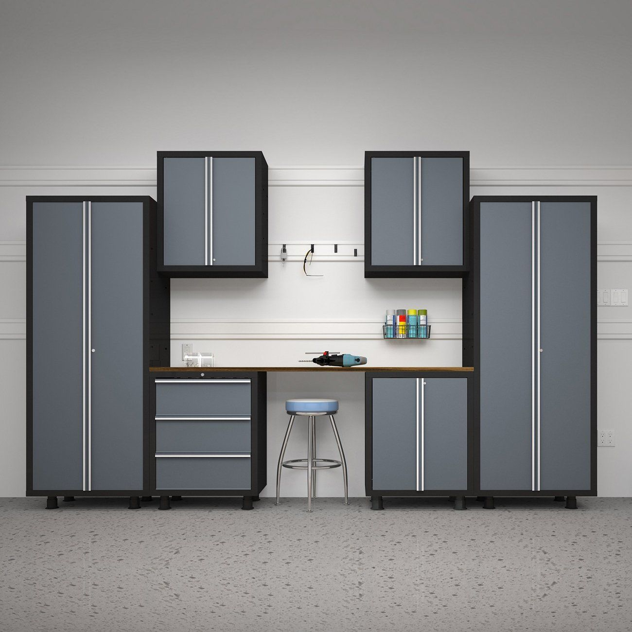 Tips For Buying Garage Utility Cabinets: NewAge Products Bold Series 7-Piece Cabinetry Set