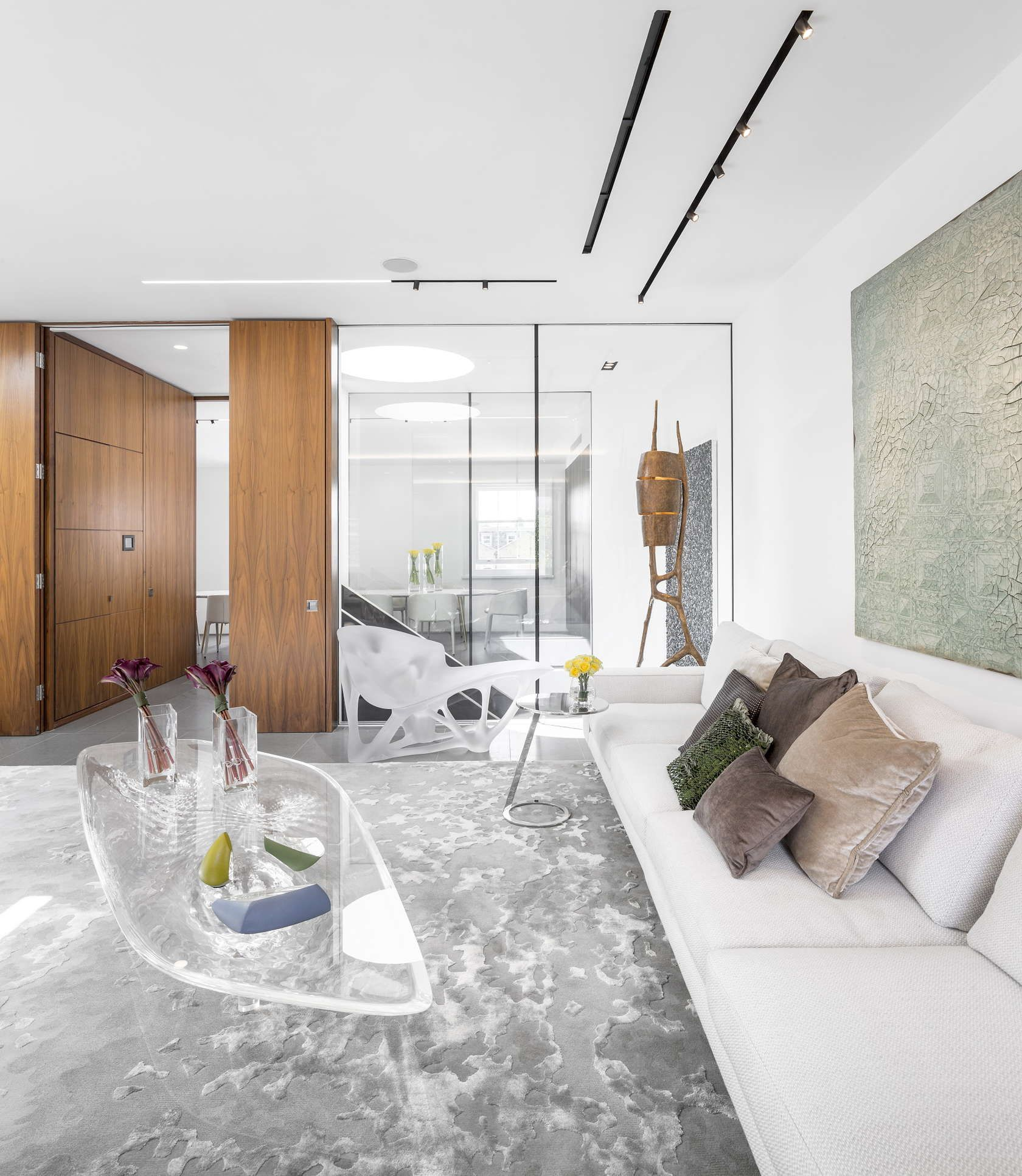 White, walnut and glass modern architecture living room. Love the ...