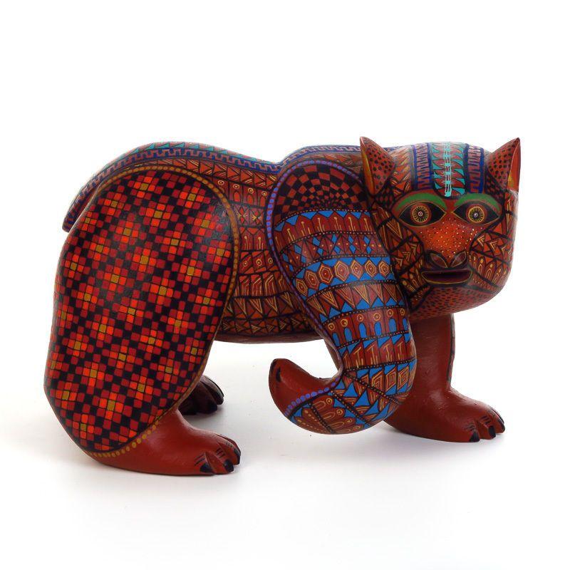 BEAR Oaxacan Alebrije Wood Carving Handcrafted Fine Mexican Folk Art Sculpture