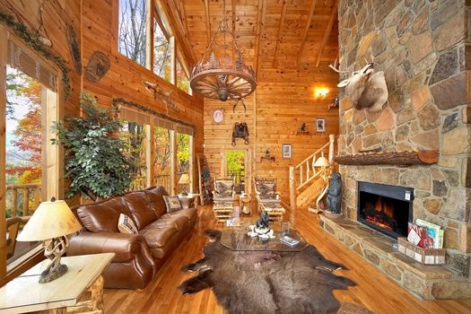 Superieur Living Room With Fireplace At The Original American Dream A 2 Bedroom Cabin  Rental Located In