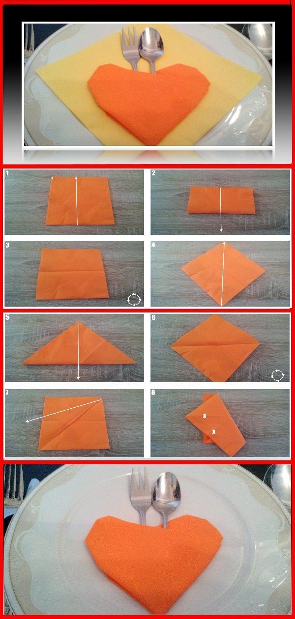 Servietten Falten Bestecktasche 👈   Herz Bestecktaschen Serviettenfalten  Origami Freude Modern Kinder Basteln Servietten Falten