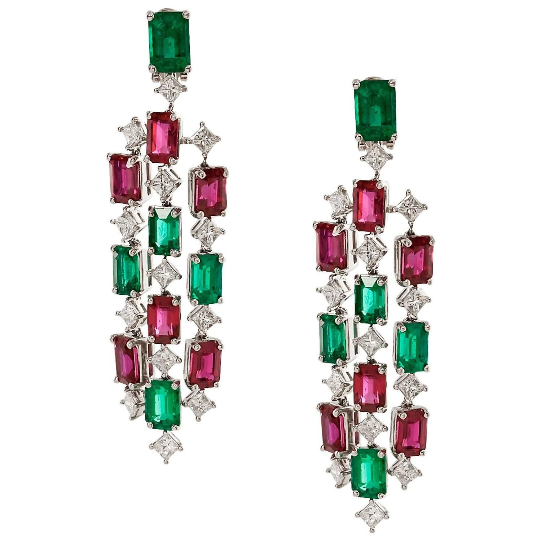 Emerald ruby chandelier earrings with diamonds chandelier emerald ruby chandelier earrings with diamonds arubaitofo Images