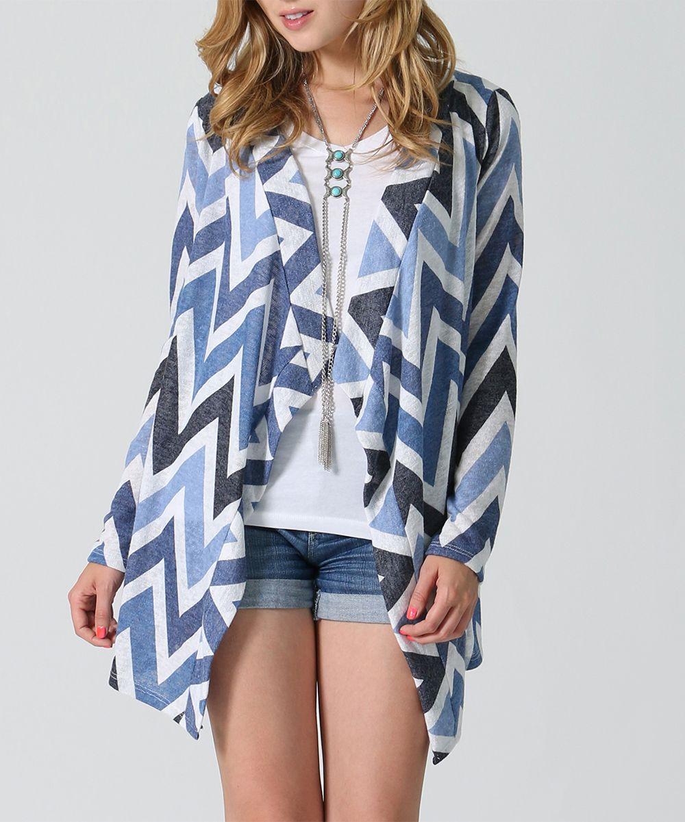 Blue & White Zigzag Cardigan - Plus