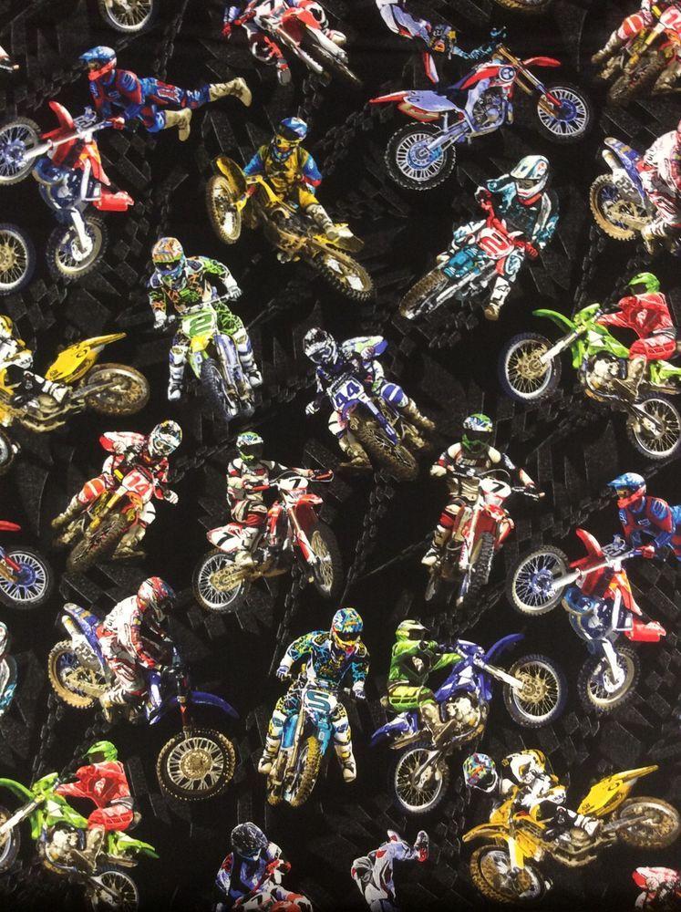 Benartex Fat Quarter Motorcross Extreme Sports Cotton Quilting Fabric