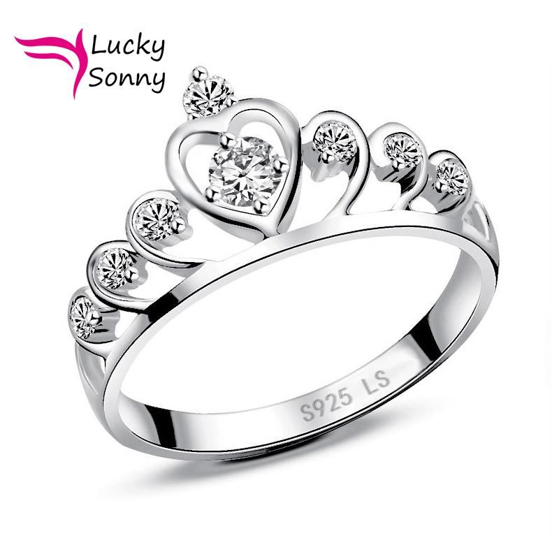 Luxury Wedding Crown Rings For Women Jewelry Authentic 925 Sterling