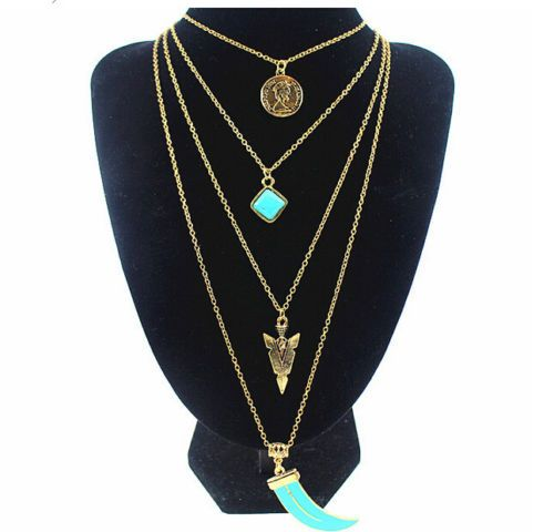 European-retro-multi-layer-Bohemian-gold-plated-long-chain-turquoise-necklace