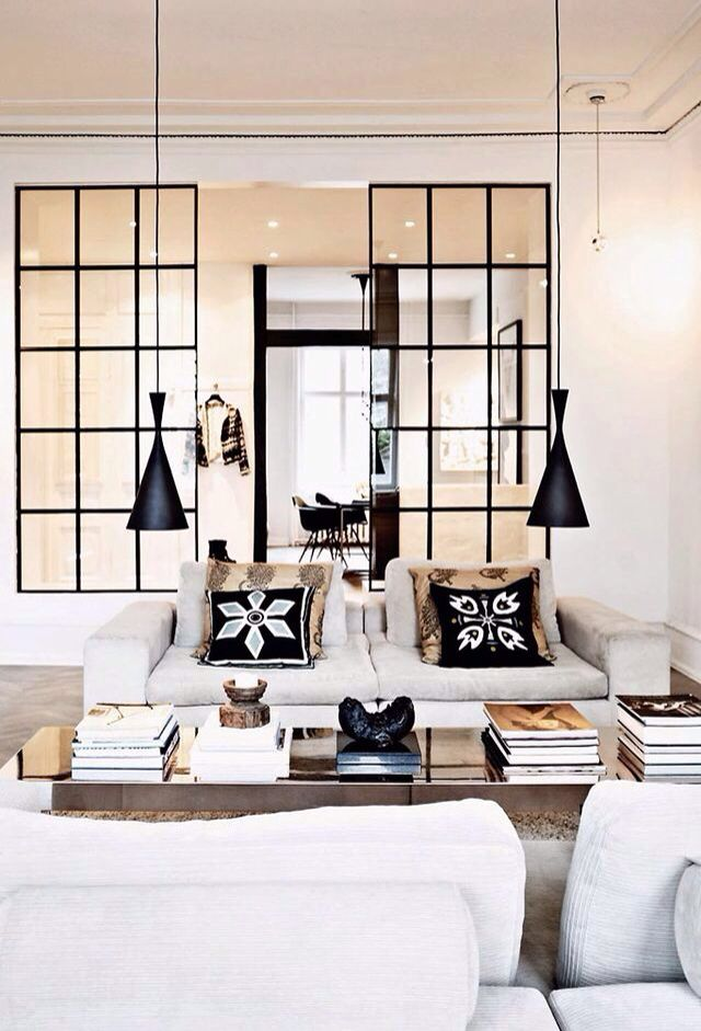 Fun Living Room With Hanging Pendants | Black Pillows On White Couch Part 87
