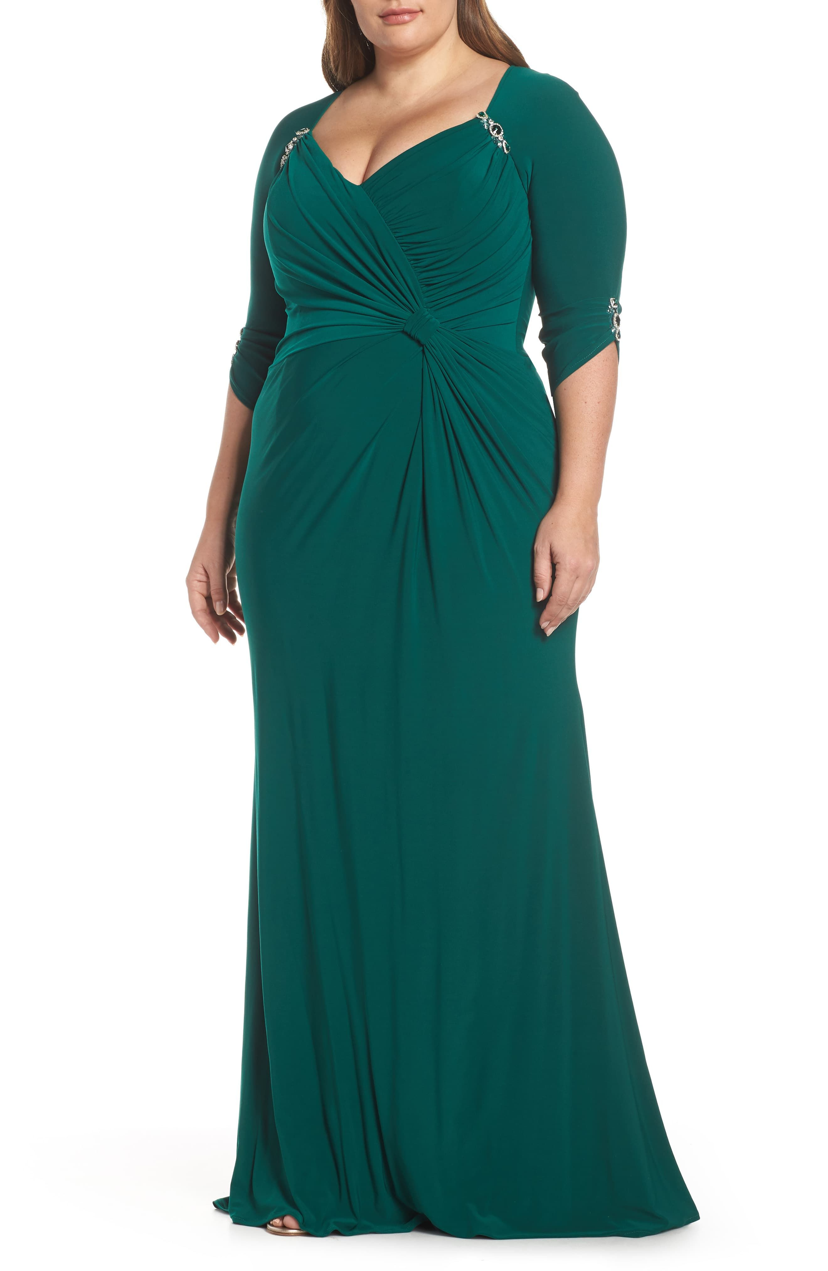 Mac Duggal Embellished Twist Front Jersey Gown Plus Size Nordstrom Evening Dresses Plus Size Plus Size Dresses Sparkle Dress [ 4048 x 2640 Pixel ]