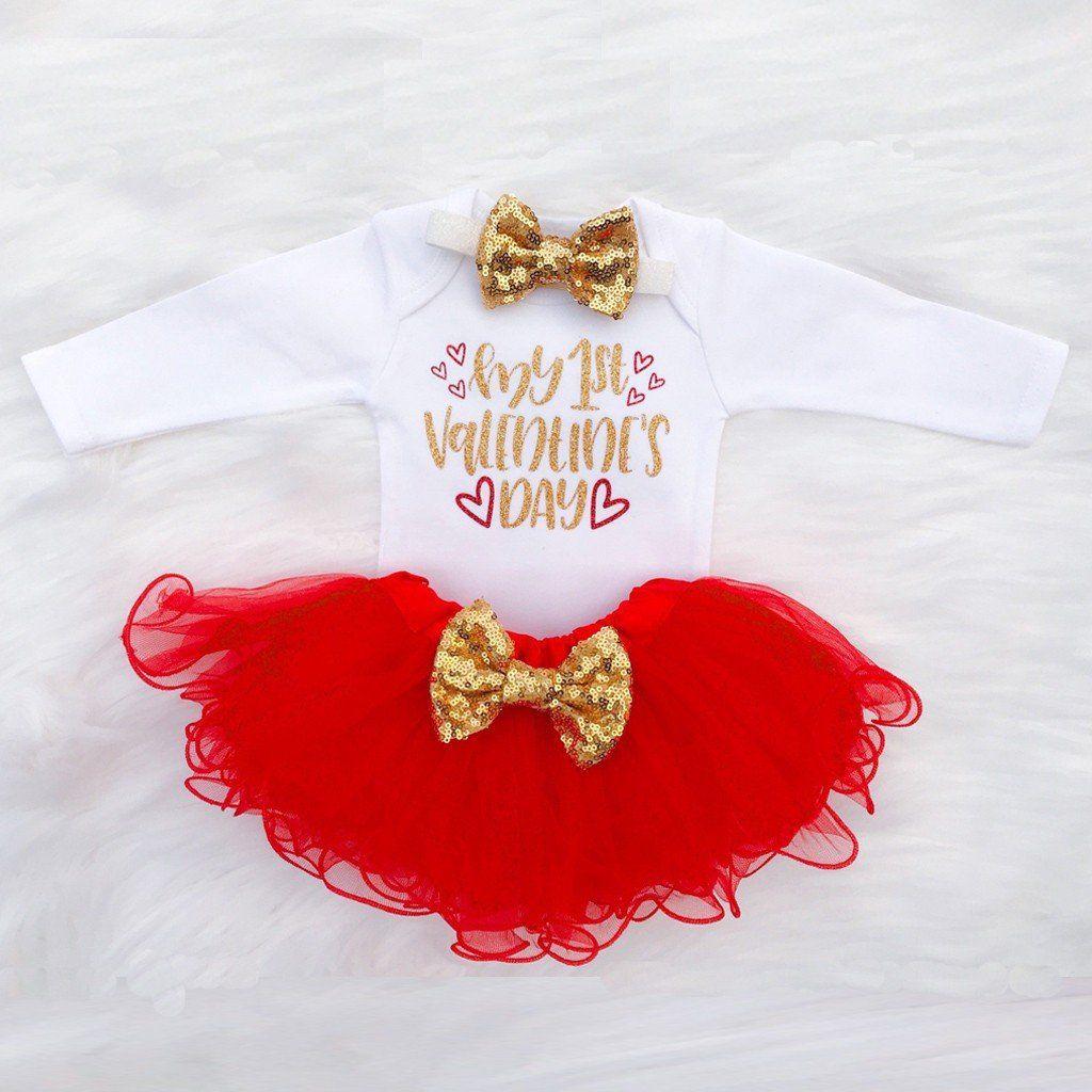 bdf849431573 Newborn Infant Baby Girl Letter Romper+Tutu Tulle Skirt Valentine ...
