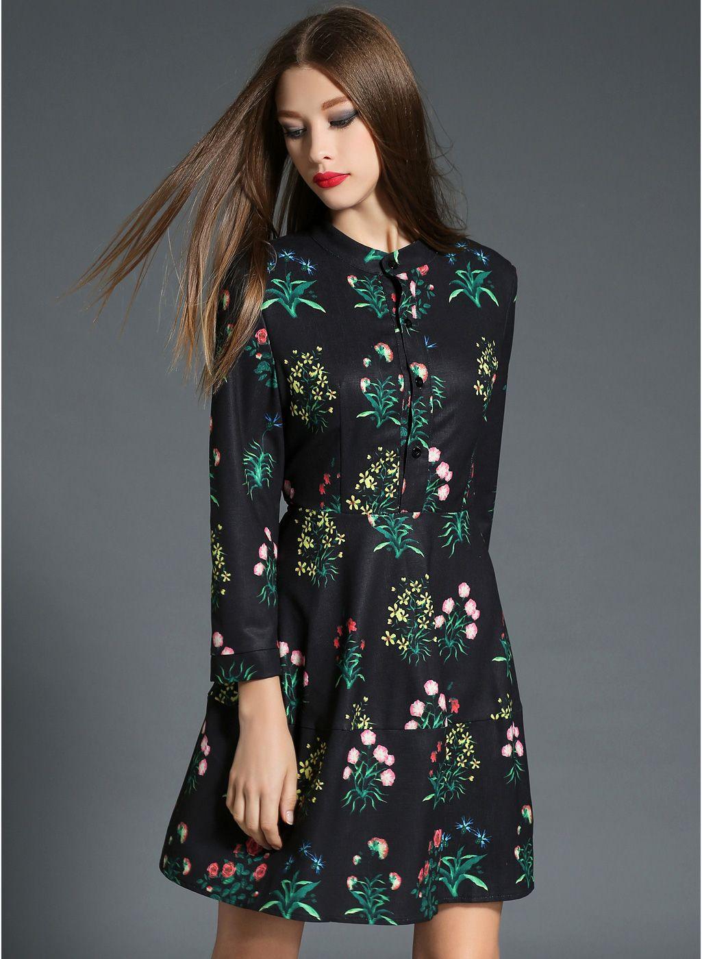 c75b3f534e JC Collection Black Coloured Printed Skater Dress | Western Dresses ...