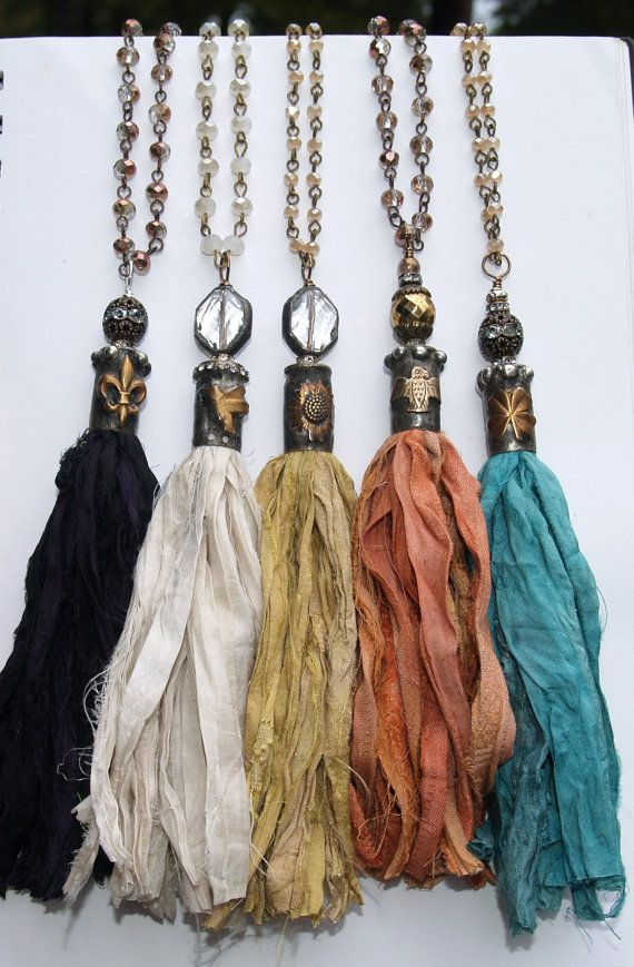 Beautiful very Trendy Boho Sari Silk Tassel Necklace Long Stainless Steel Chain