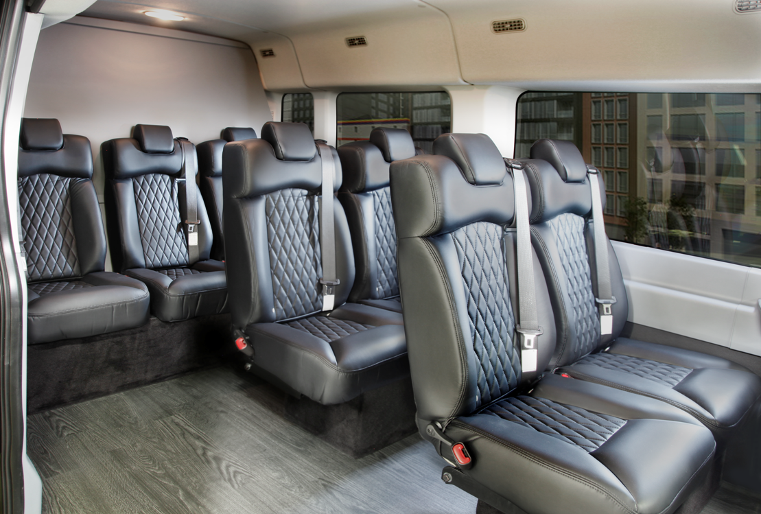 Our 8 Passenger Ford Transit Luxury Van From Royale Limousine Manufacturers Features Luxury Seating And A Range Of Co Luxury Van Luxury Bus Sports Cars Luxury