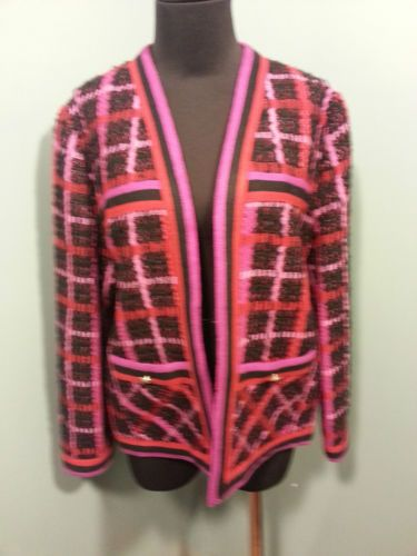 Castleberry Vintage Multi Color Black Acrylic Plaid Knit Open Front Jacket 16 $49 OBO Free Shipping!
