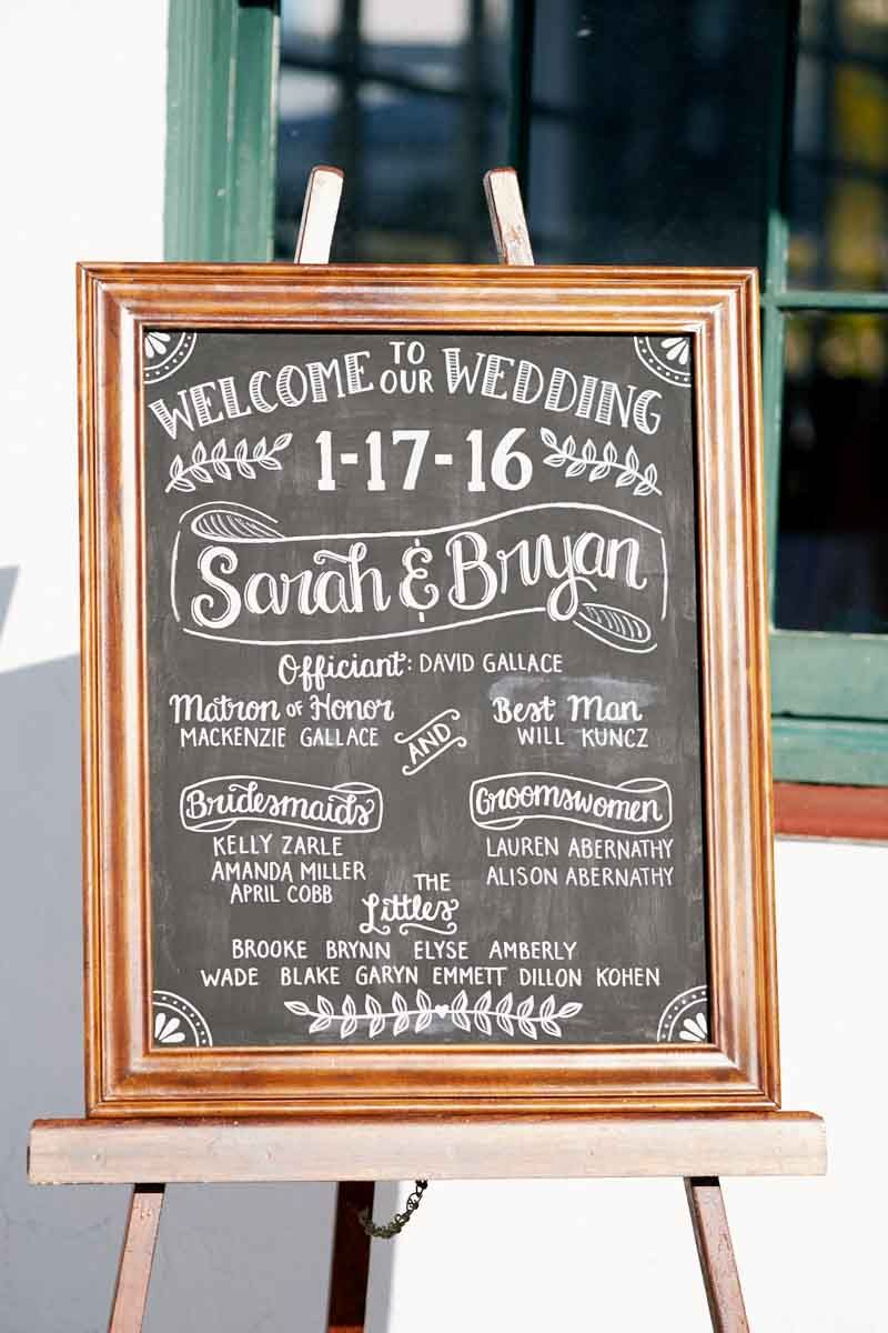 Welcome Wedding Sign by Vintage Chalk - Rustic Wedding at the St. Pete Shuffleboard Club - St. Pete, FL Wedding Venue - Photographer: Ty Wynn Photography - Orange Blossom Bride - www.orangeblossombride.com - Click pin for more