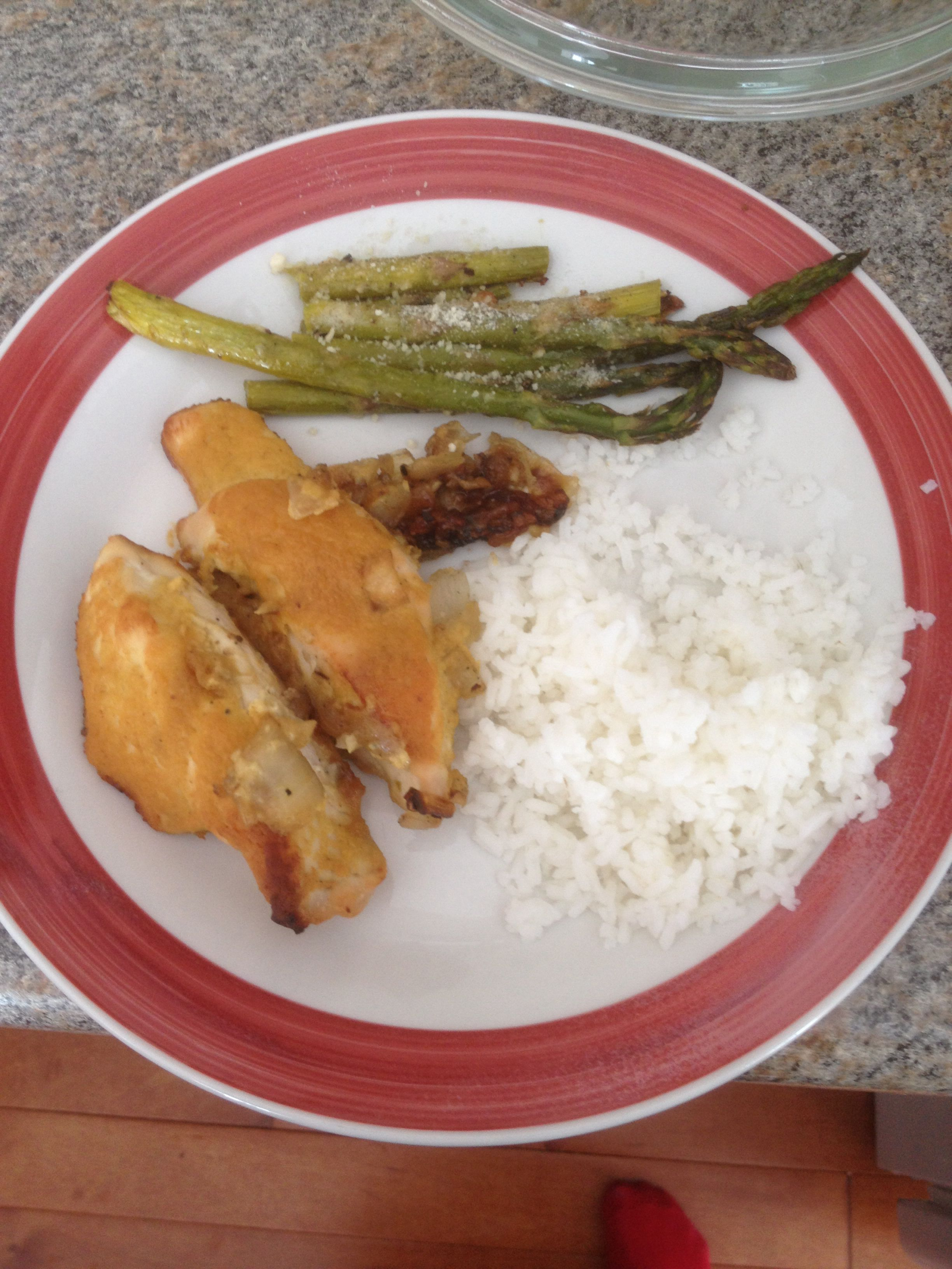 Honey mustard baked chicken with Parmesan asparagus and rice. SUCCESS!!! :)