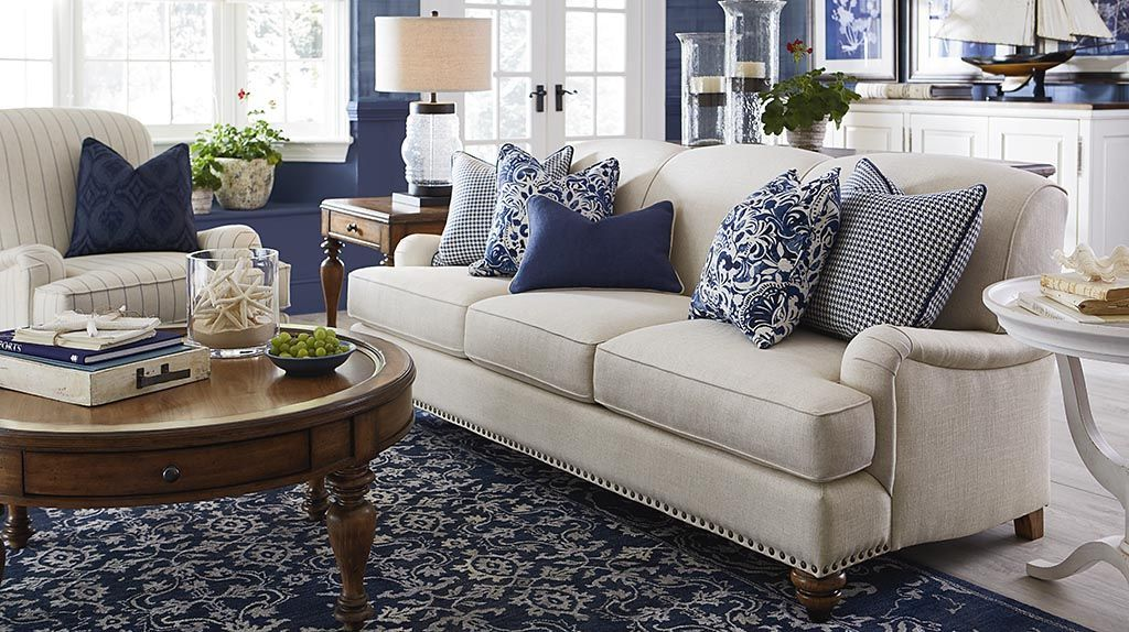 taupe sofa with navy/ivory rug | living room theme ...