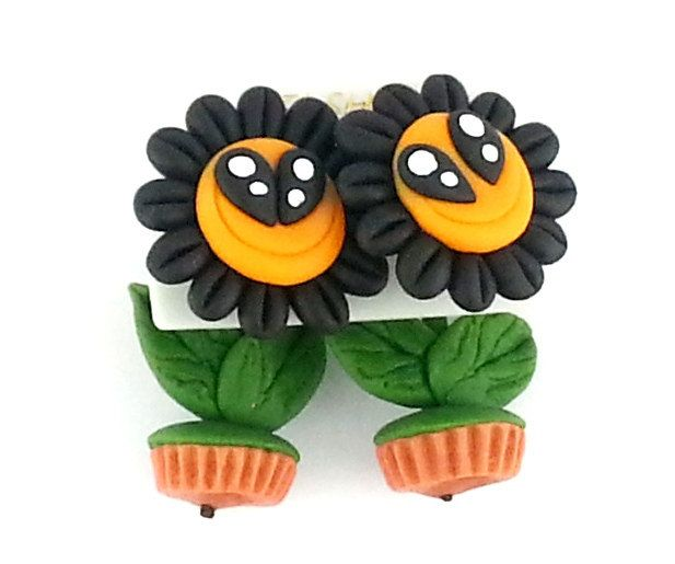Fancy Sunflowers  Stud  Earrings Clay Polymer Clay Fashion Gift Handmade Wedding Anniversary Unique GIFT by CandleBakeryCandles on Etsy