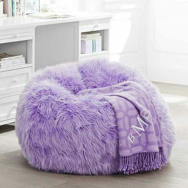 Himalayan Faux Fur Lilac Bean Bag Chair Purple Room Decor Purple Furniture Purple Bean Bags