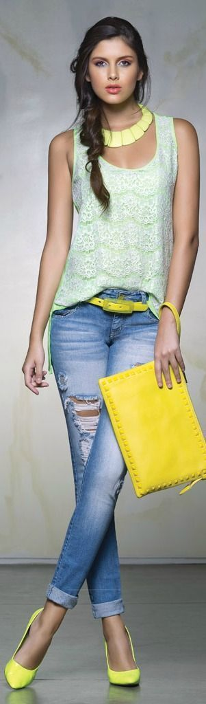 Summer fashion with denim and neon.