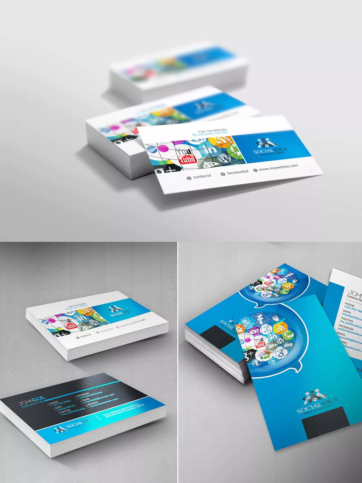 Social media business card template eps business card templates social media business card template eps reheart Images