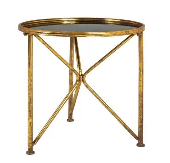 Best Vintage Metal Side Table Small Round Glass Black Top Gold 400 x 300