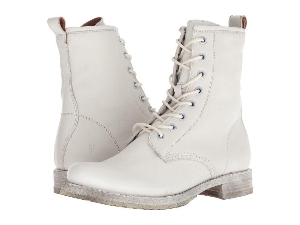 f2ce4b29b Frye Veronica Combat Women's Lace-up Boots White Waxed Full Grain ...