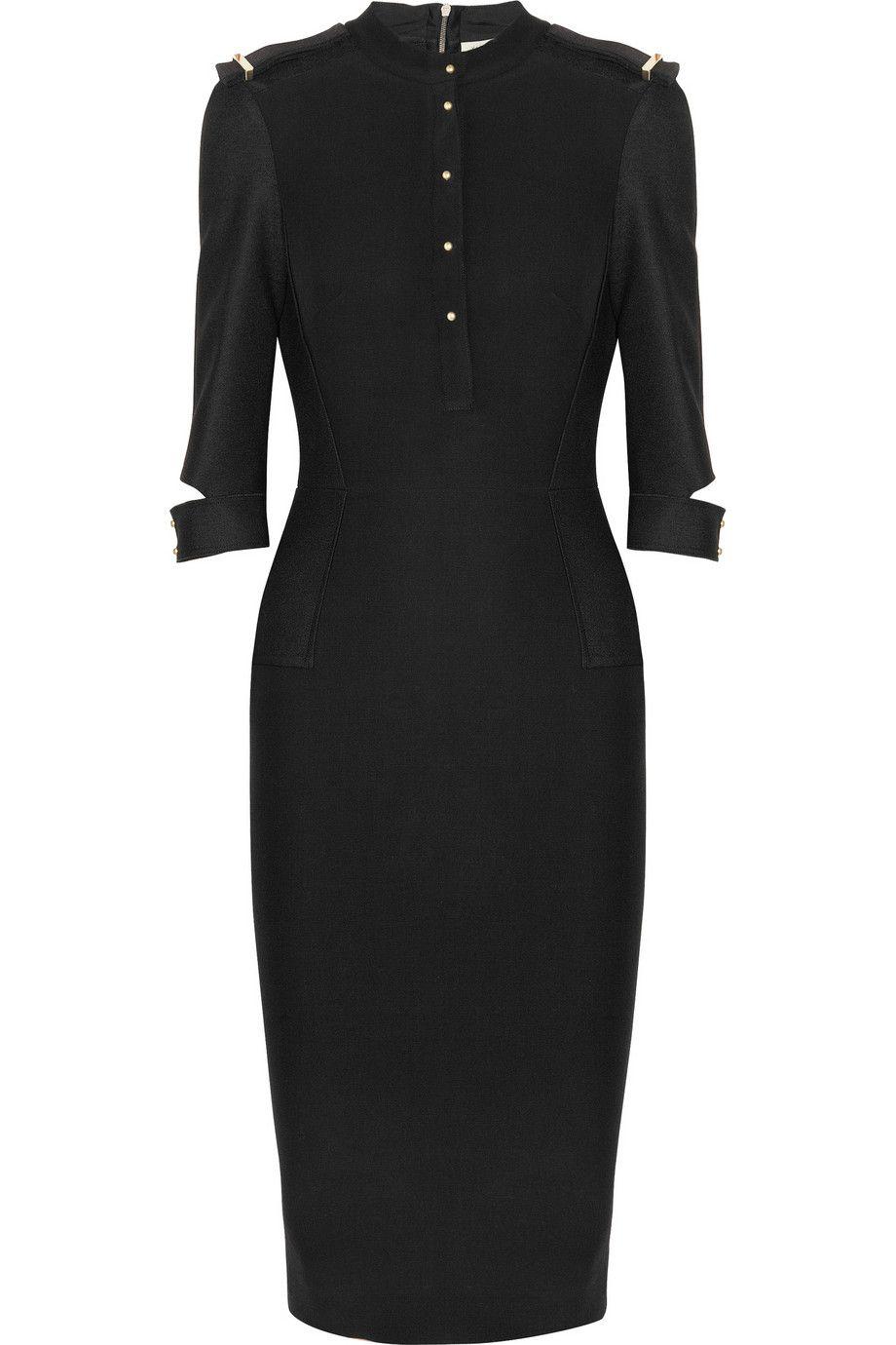 Victoria Beckham Black Silk And Wool Blend Crepe Dress Clothes Clothes Design Fashion [ 1380 x 920 Pixel ]