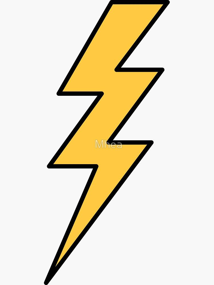 Lightning Bolt Yellow With Black Outlines Sticker By Mhea Lightening Bolt Tattoo Lightning Bolt Tattoo Bolt Tattoo