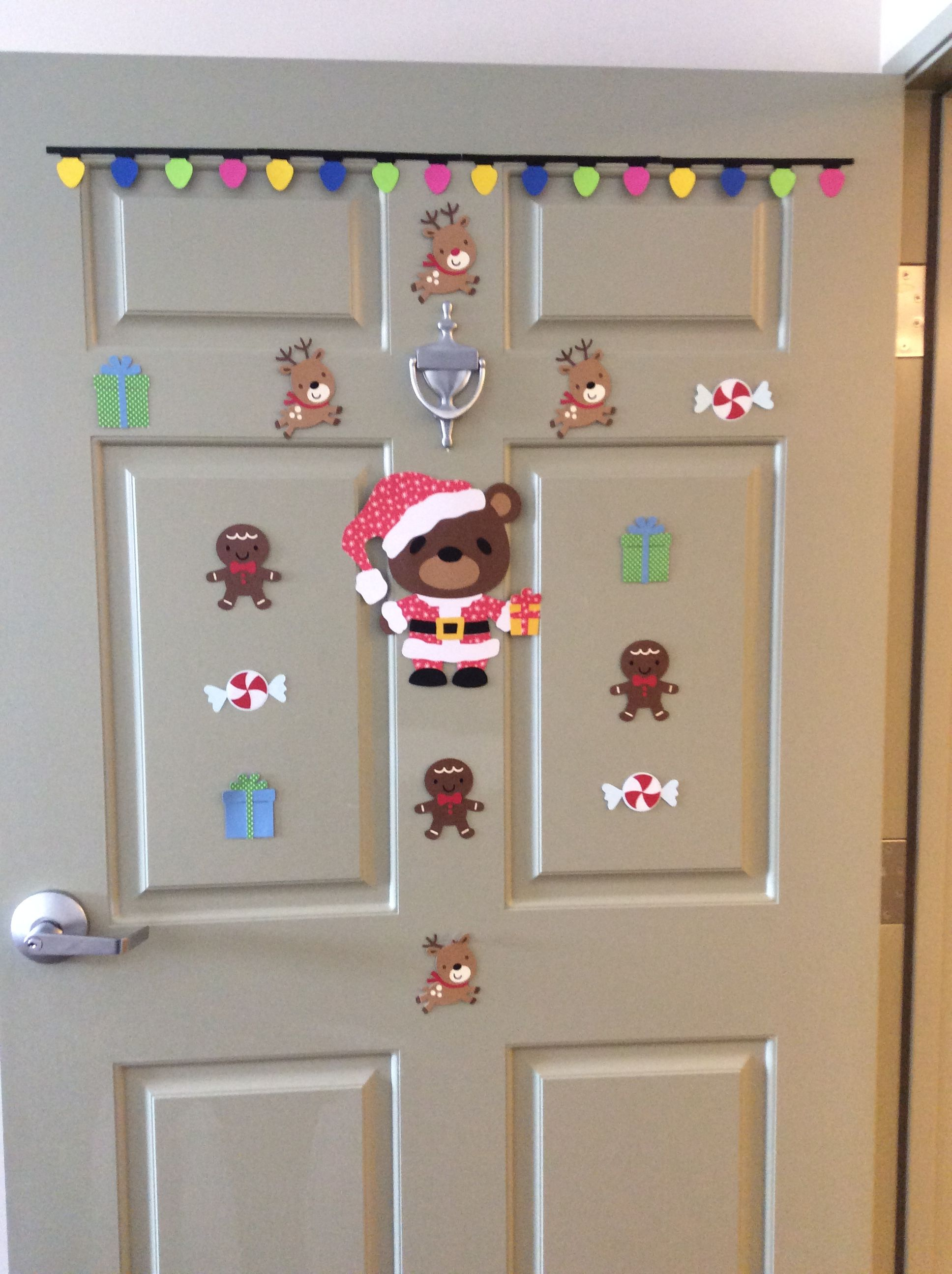 December door decorations at an assisted living facility
