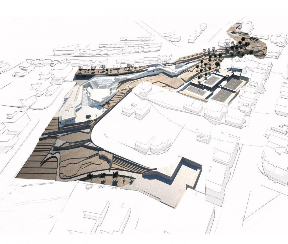 Urban Park of Palouriotissa Second Prize Winning Proposal by ECONOMOU + Georgios Artopoulos (Architectural Design Team: Gregoriou Charis, Artopoulos Giorgos, Metoxis Nikolas, Skantzouris Nestoras / Landscape Design: Grevenaris Giorgos / Lighting Design: Sevastides Dakis, ARCHTUBE) - Latsia, Nicosia, Cyprus
