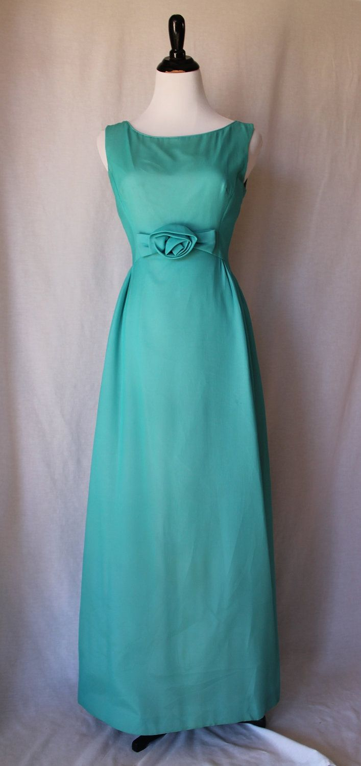 S turquoise vintage formal evening gownmaid dress would look