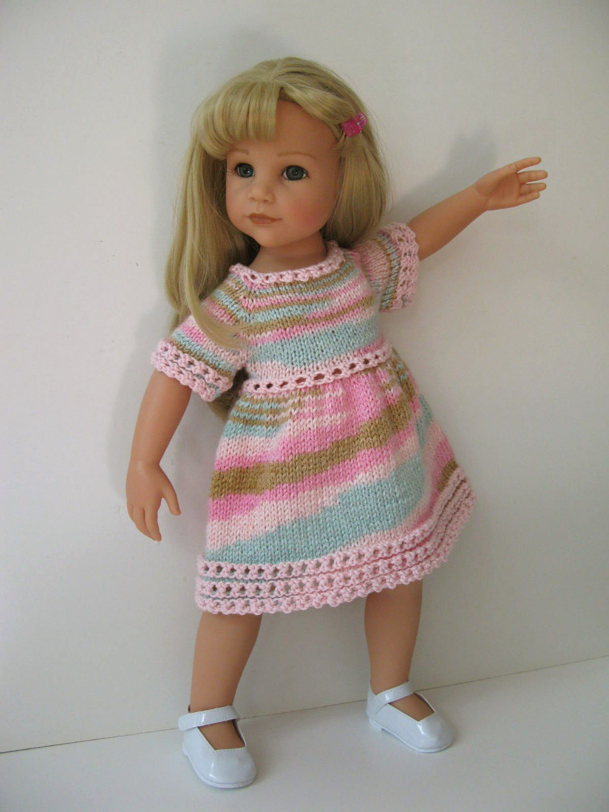 Knitting Doll How To Use : Hand knitted dress made using my original pattern lime