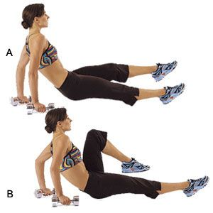 Dumbell Dip W One Legged Crunch Sit On The Floor With Your Legs Extended Holding Dumbbells By Your Hips Bridge Your Body Up Off The Floor Fitness Wellness Fitness