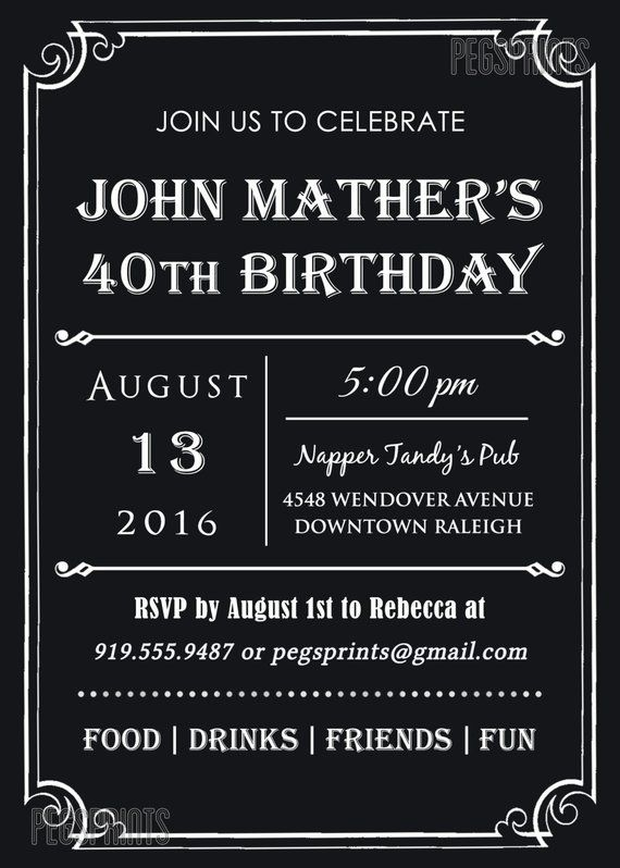 40th Birthday Invitation For Men