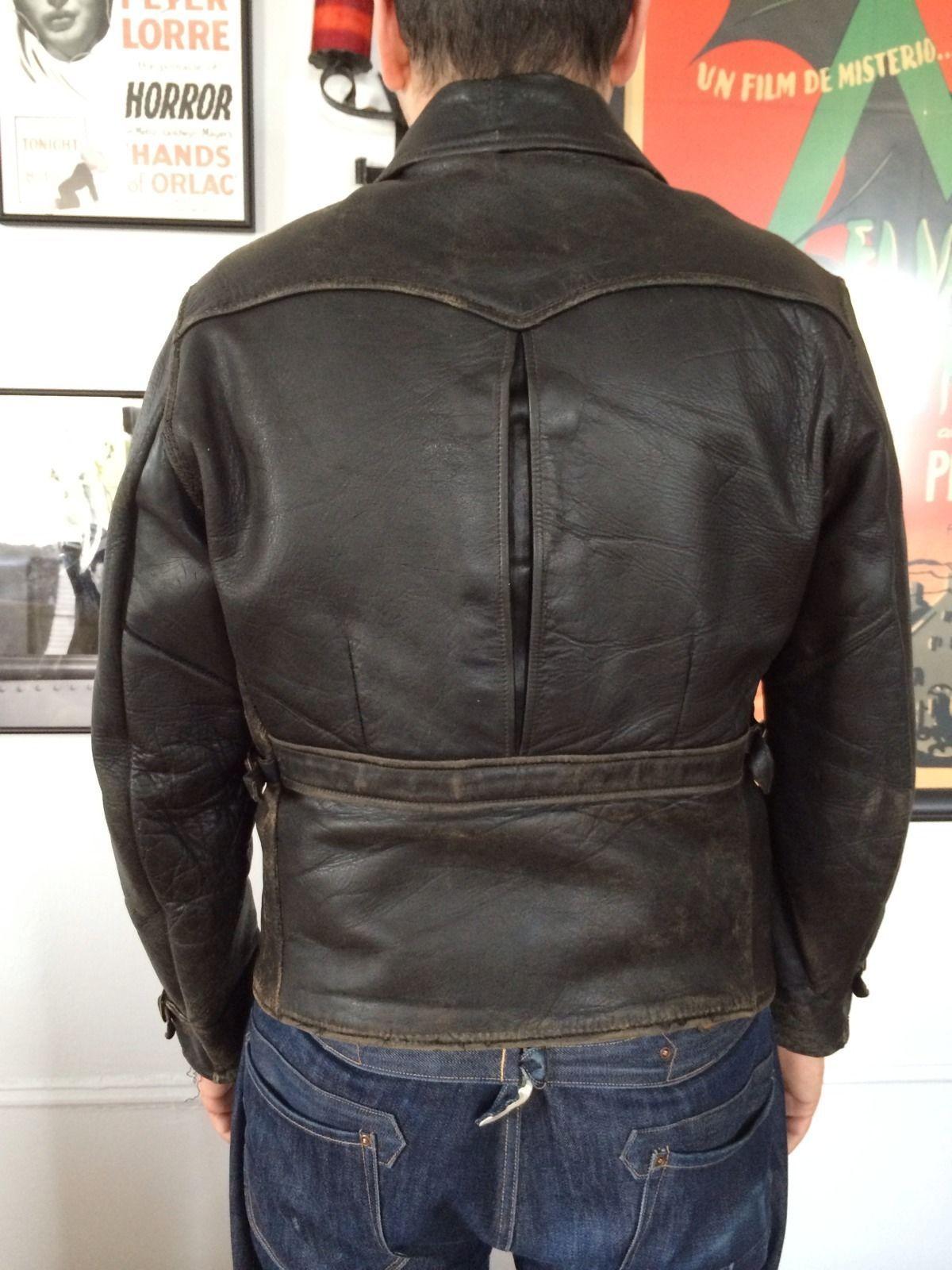 Vintage 1920s 1930s Black Leather Jacket Functioning Center Pleat Action Back Ebay Black Leather Jacket Leather Jacket Jackets [ 1600 x 1200 Pixel ]