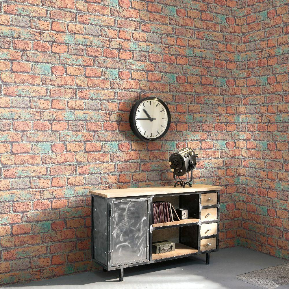 Modern Minimalist Faux Brick Wallpaper Red and Green R4805