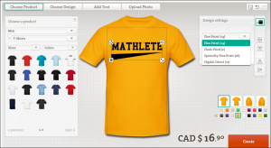 The spreadshirt designer interface, showing extreme ease of use