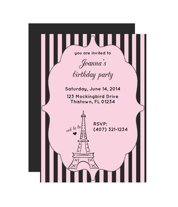 Paris Free Printable Party Invitation from printablepartydecor.com ...