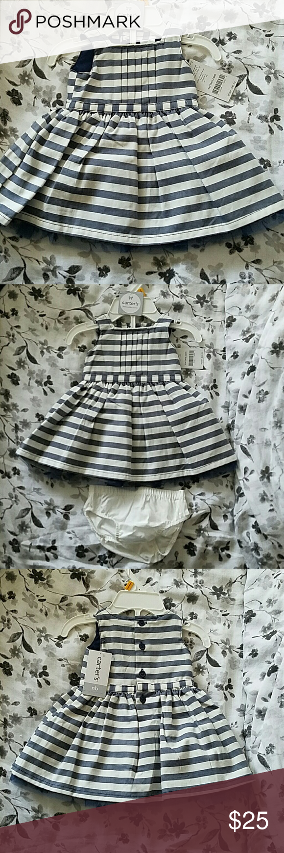 Blue and white striped dress Cute striped dress with navy tule underneath that extends from the bottom of the dress. Very cute dress for 1st pics, church, or give as a baby shower gift! Fits 5-8lbs and up to 21.5in. Carter's Dresses Formal