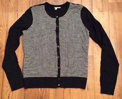 Halogen  women sweater 100% merino wool Sz Medium Black And White