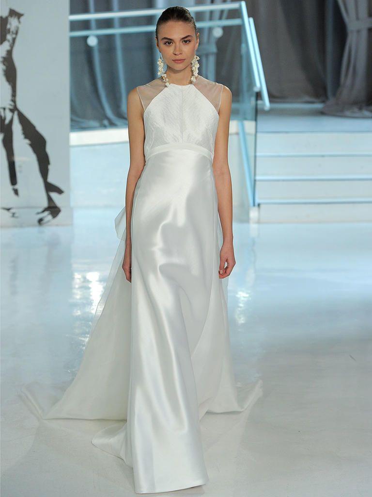 Column Wedding Dress With Illusion Cap Sleeves Peter Langner Spring 2018