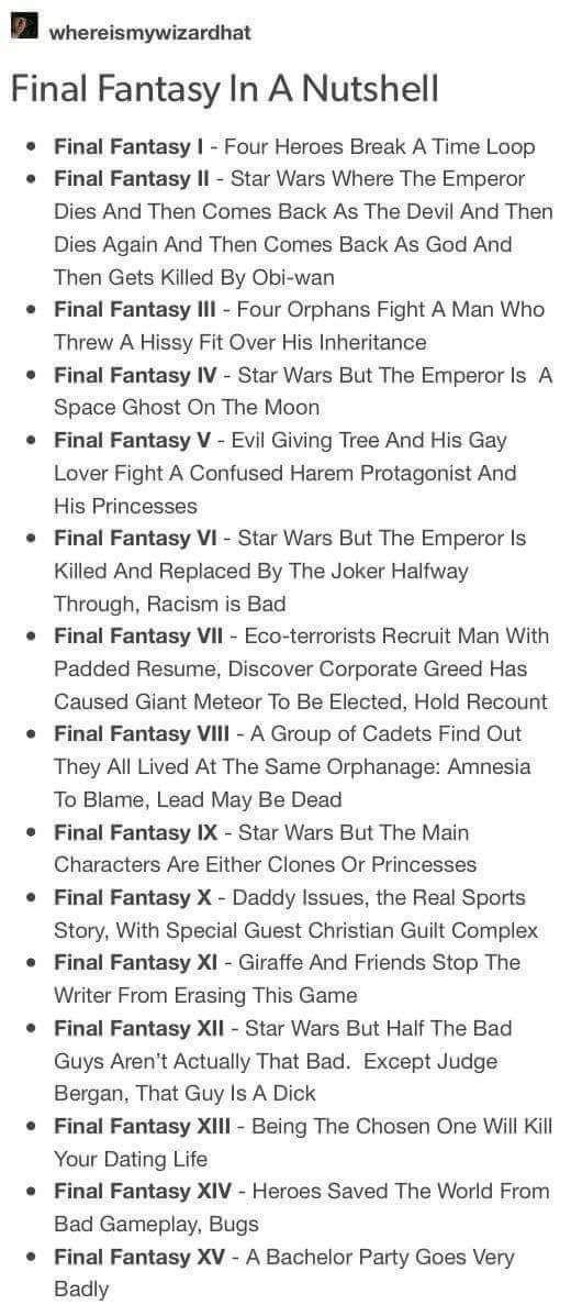 Every Final Fantasy Game In A Nutshell Final Fantasy Fantasy