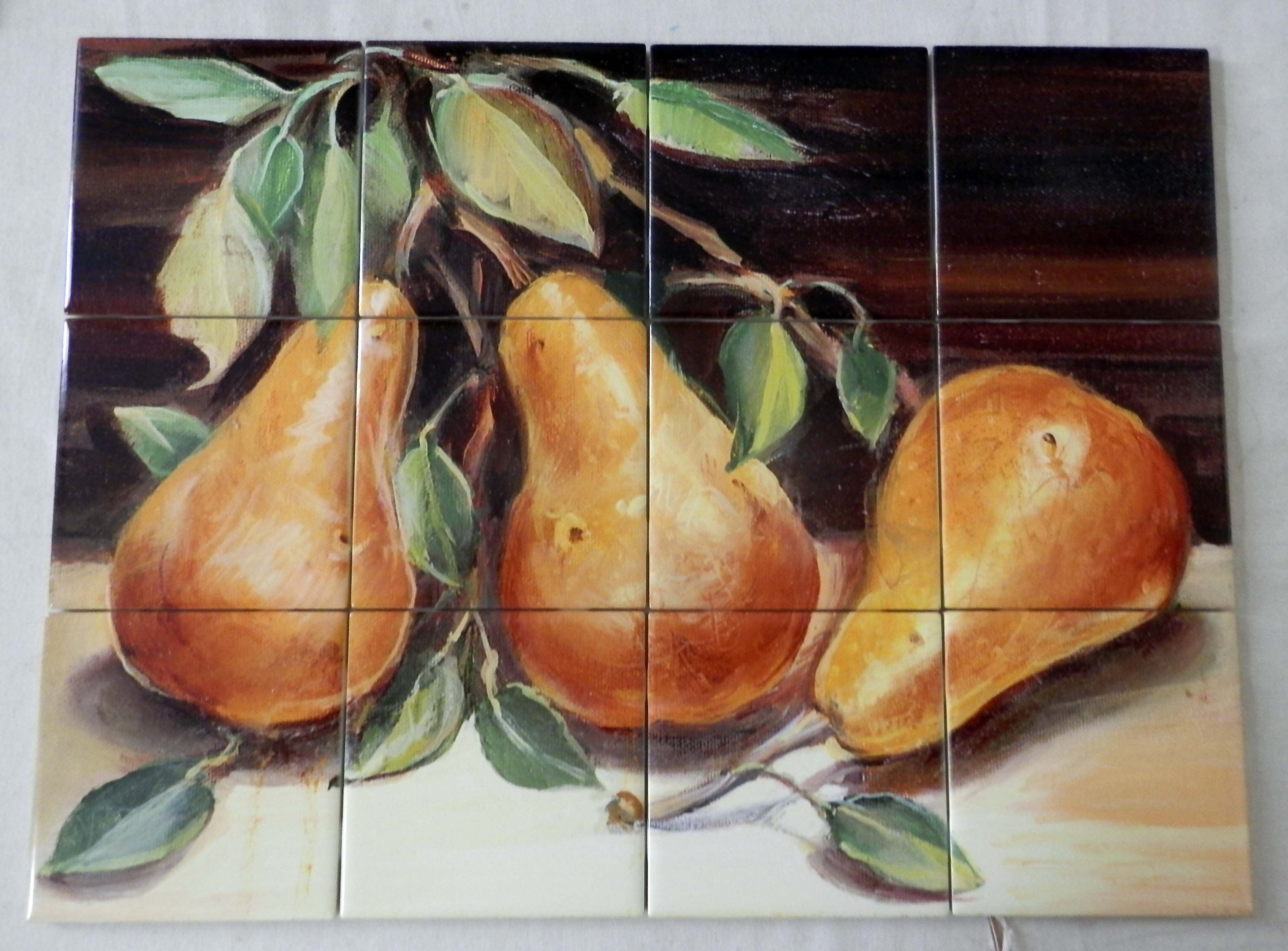 Golden Pears Tile Mural Digitally reproduced for tiles and depicts a closeup of 3 golden pears This fruit and ve able themed tile mural is perfect to