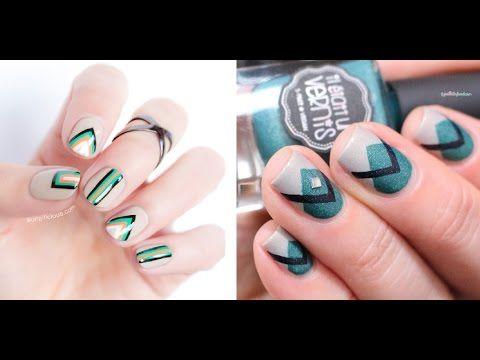 дизайн ногтей с геометрическим рисунком фото