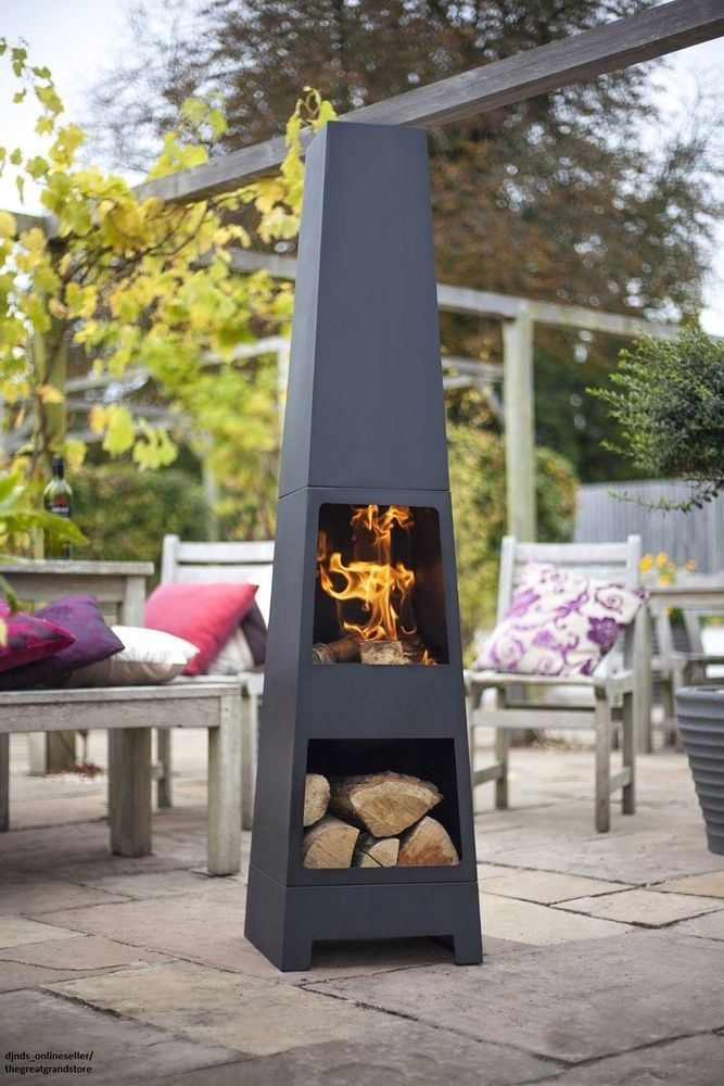 Chiminea Outdoor Fireplace Fire Pits Chimney Patio Backyard Heater Modern Garden Lahacienda Fire Pit Backyard Backyard Fire Outdoor Fire Pit