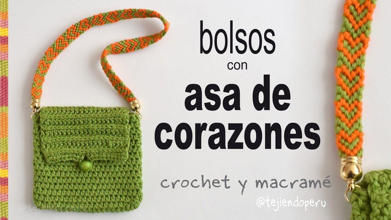 Bolsos a crochet con asa de corazones - Tejiendo Perú | Knit/Crochet ...