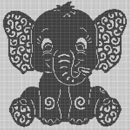 Art elephant crochet afghan pattern graph #crochetelephantpattern