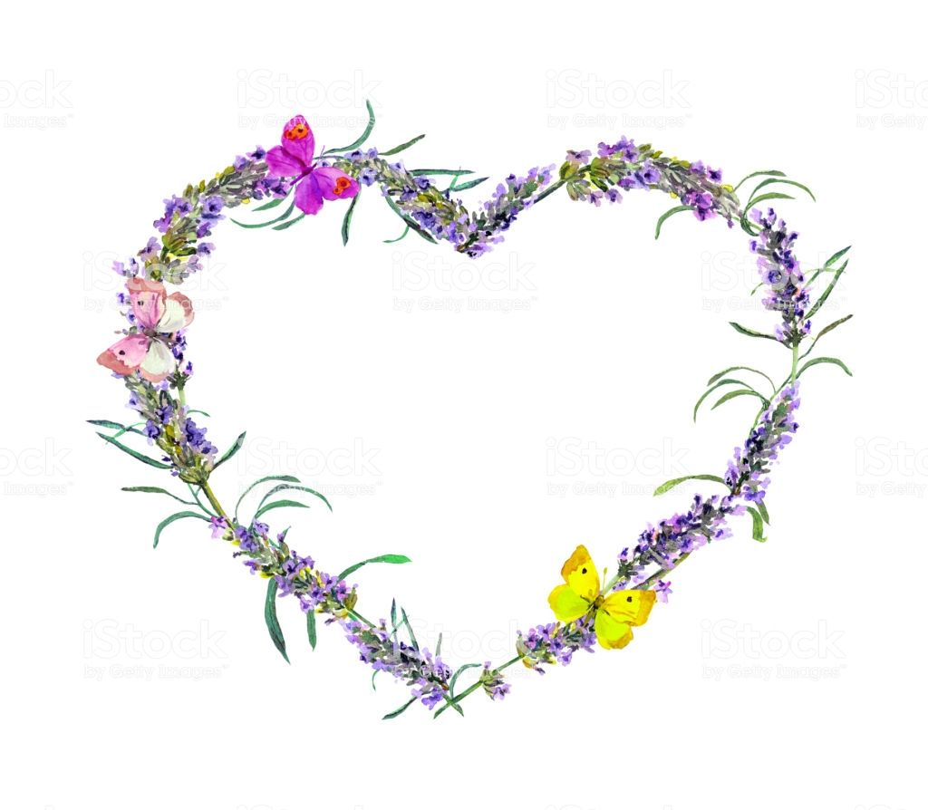 Butterflies And Lavender Flower Heart Shaped Tattoo